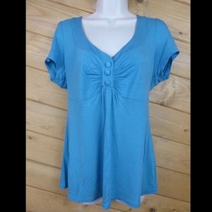 flounce L Light Blue Tunic Blouse Cap Sleeve Top